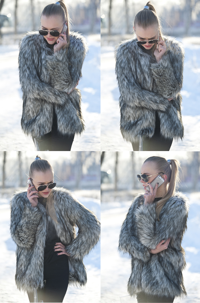darya kamalova thecablook fashion style trend winter russia fake fur choies booties black grey giant vintage sunglasses1