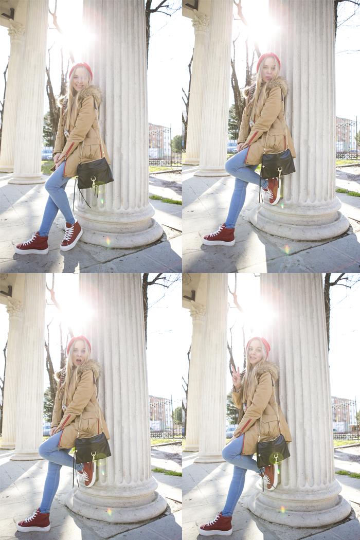 1cablook fashion blog darya kamalova street fashion sneakers asos sheinside coat parka rebecca minkoff mac bag red oversized beanie animal sweatshirt romwe dr denim baby blue jeans-22