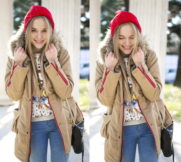 1cablook fashion blog darya kamalova street fashion sneakers asos sheinside coat parka rebecca minkoff mac bag red oversized beanie animal sweatshirt romwe dr denim baby blue jeans-27