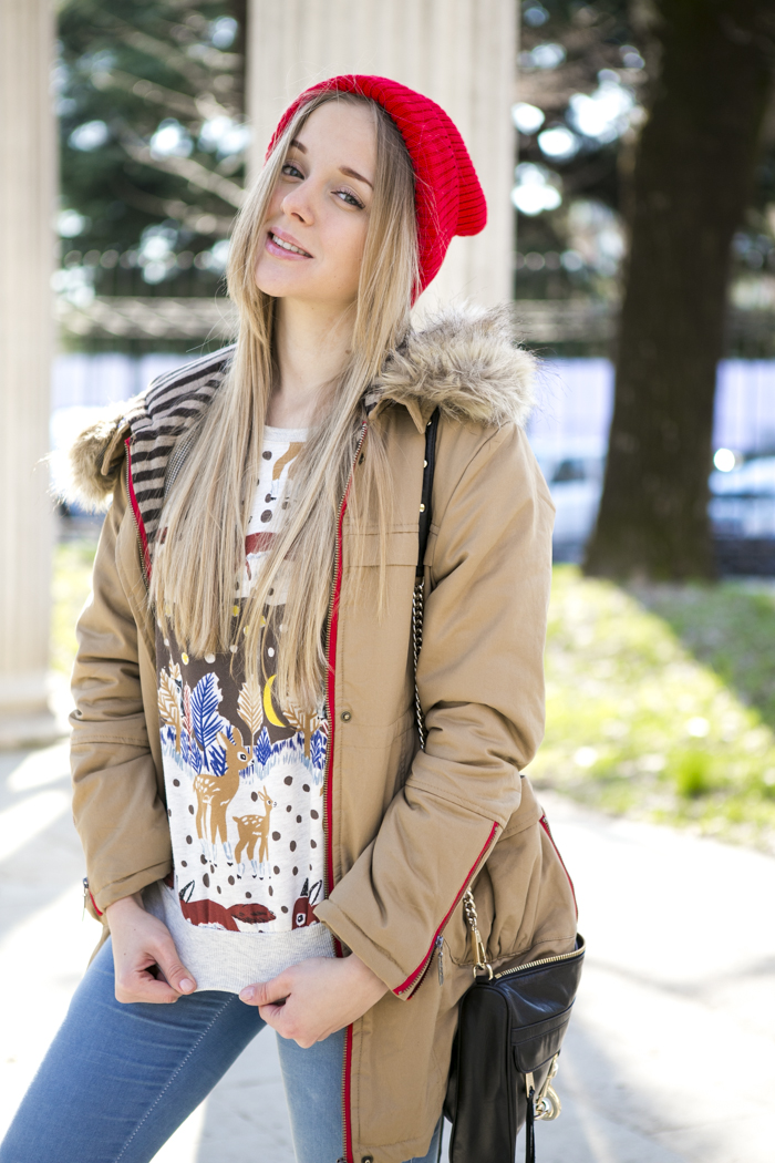 cablook fashion blog darya kamalova street fashion sneakers asos sheinside coat parka rebecca minkoff mac bag red oversized beanie animal sweatshirt romwe dr denim baby blue jeans-30