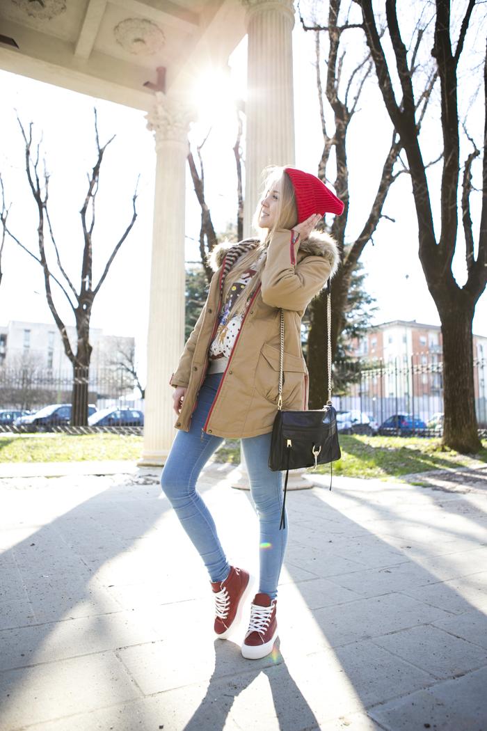 cablook fashion blog darya kamalova street fashion sneakers asos sheinside coat parka rebecca minkoff mac bag red oversized beanie animal sweatshirt romwe dr denim baby blue jeans-4