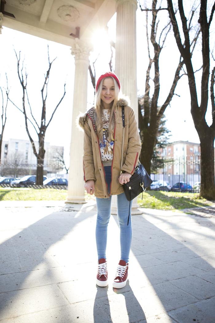 cablook fashion blog darya kamalova street fashion sneakers asos sheinside coat parka rebecca minkoff mac bag red oversized beanie animal sweatshirt romwe dr denim baby blue jeans-6