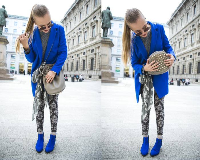 1thecablook fashion blog darya kamalova street style alexander wang diego bucket grey bag asos cobalt coat sheinside barocco pants zara silver sweater cooee earings scull scarf choies booties giant vintage sunies-12