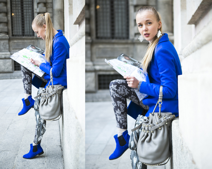 1thecablook fashion blog darya kamalova street style alexander wang diego bucket grey bag asos cobalt coat sheinside barocco pants zara silver sweater cooee earings scull scarf choies booties giant vintage sunies-53