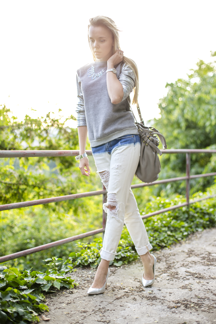 thecablook darya kamalova fashion blog street slyle outfit blogger russian italy ripped jeans zara fradient lavish alice sweatshirt topshop silver heels alexander wang diego bucket bag cooee necklace bracelet giant vintage sunglasses-13