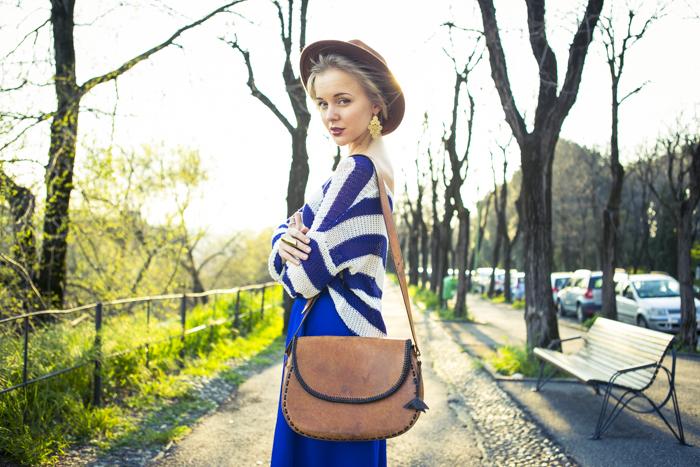 thecablook fashion blog darya kamalova street fashion asos cobalt blue electric culottes sheinside sweater hm camel hat ziba earings topshop black heels vintage leather bag vj style ring-44