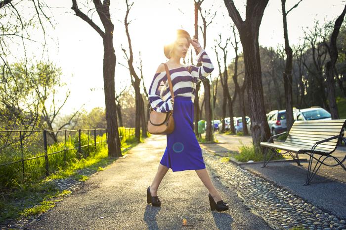 thecablook fashion blog darya kamalova street fashion asos cobalt blue electric culottes sheinside sweater hm camel hat ziba earings topshop black heels vintage leather bag vj style ring-57