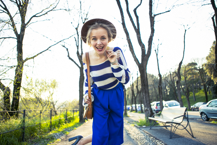 thecablook fashion blog darya kamalova street fashion asos cobalt blue electric culottes sheinside sweater hm camel hat ziba earings topshop black heels vintage leather bag vj style ring-61