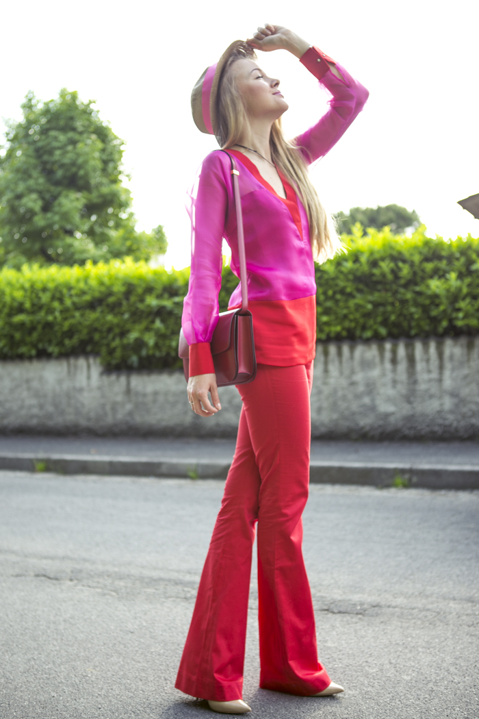 thecablook fashion blog darya kamalova street fashion maison academia red suit rose and red celine classic box bag red stories hat jimmy choo heels nude 120 mm coral necklace-10
