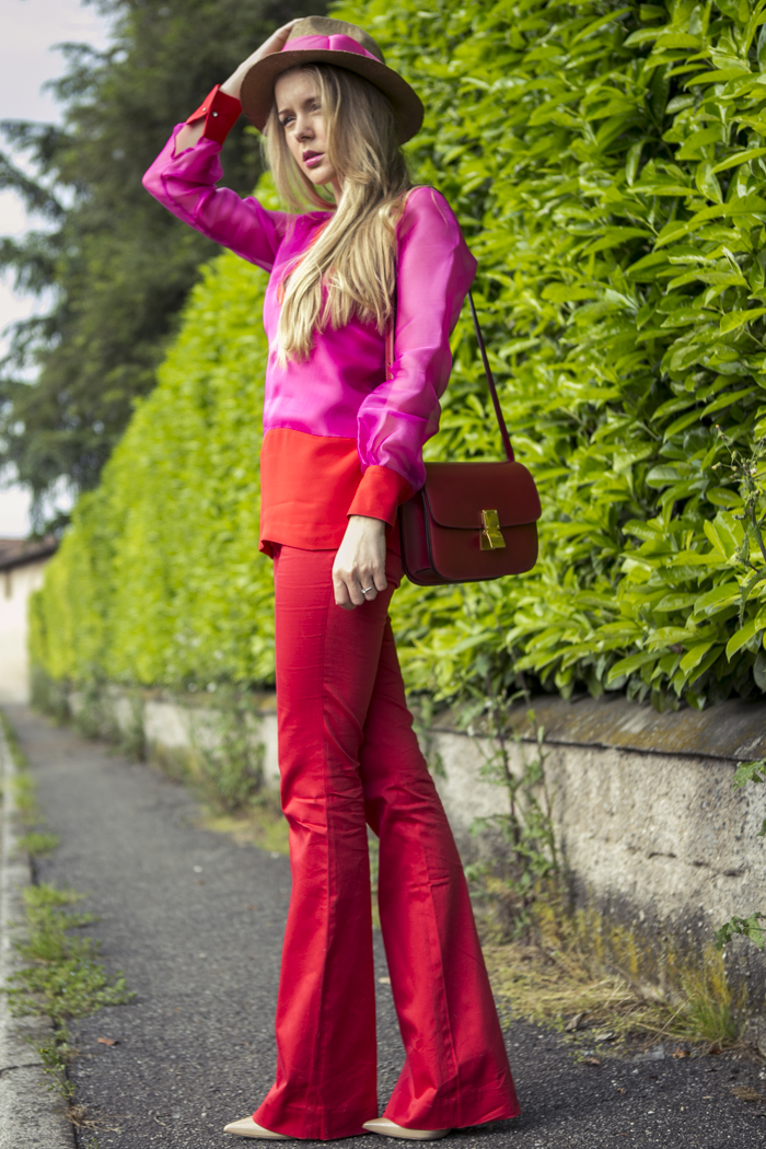 thecablook fashion blog darya kamalova street fashion maison academia red suit rose and red celine classic box bag red stories hat jimmy choo heels nude 120 mm coral necklace-2