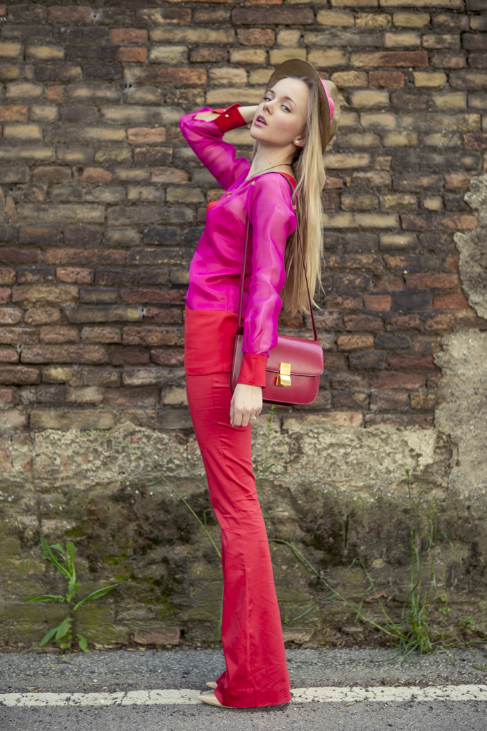 thecablook fashion blog darya kamalova street fashion maison academia red suit rose and red celine classic box bag red stories hat jimmy choo heels nude 120 mm coral necklace-22