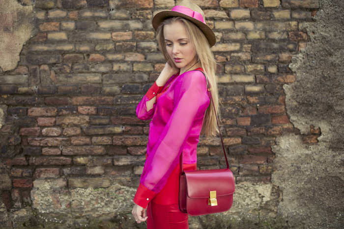 thecablook fashion blog darya kamalova street fashion maison academia red suit rose and red celine classic box bag red stories hat jimmy choo heels nude 120 mm coral necklace-23