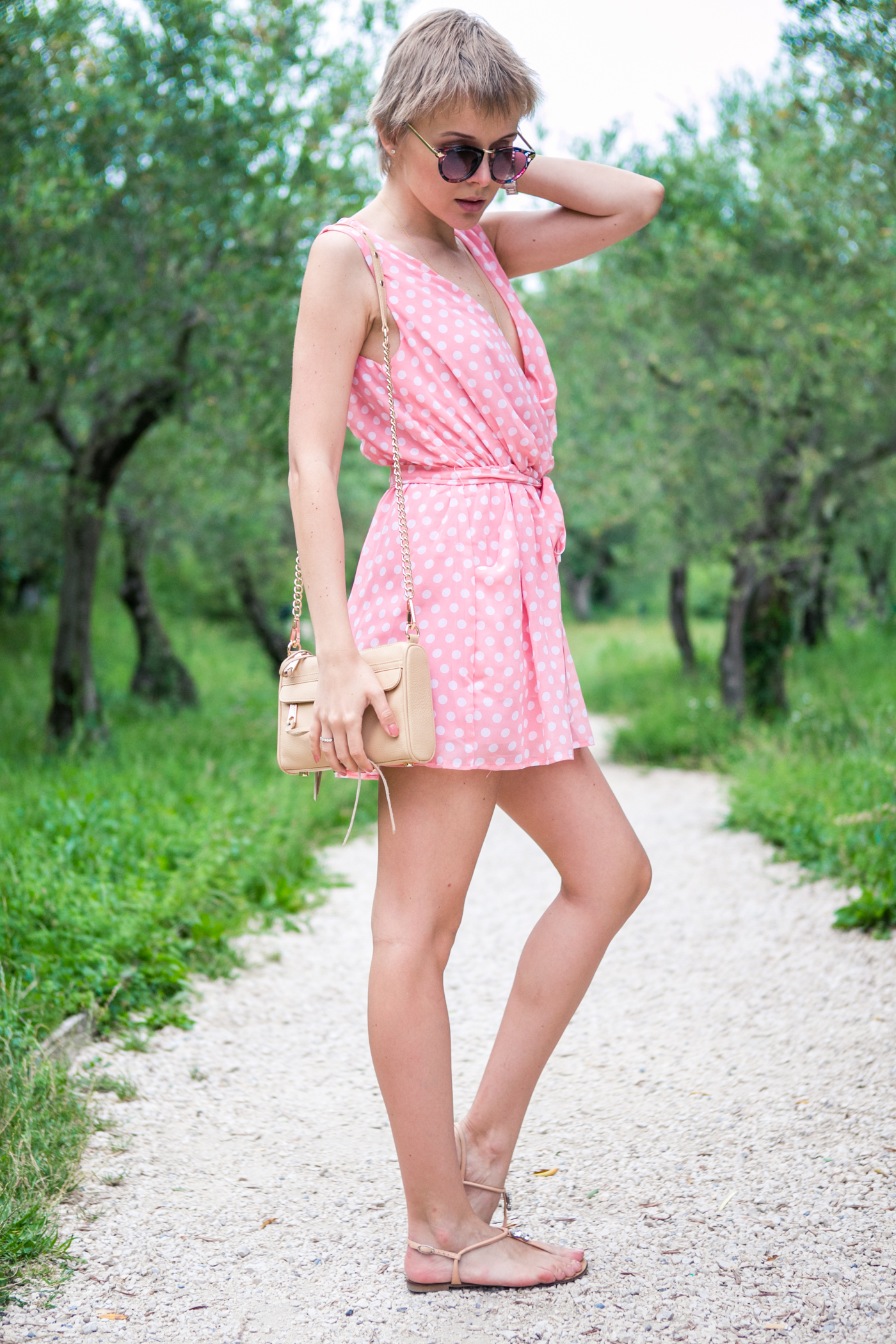 thecablook darya kamalova fashion blog street style sirmione italy verona jumpsuit rompers polka dots pixie cut short hair zanotti sandals rebecca minkoff bag vj style sunnies sunglasses outfit-131