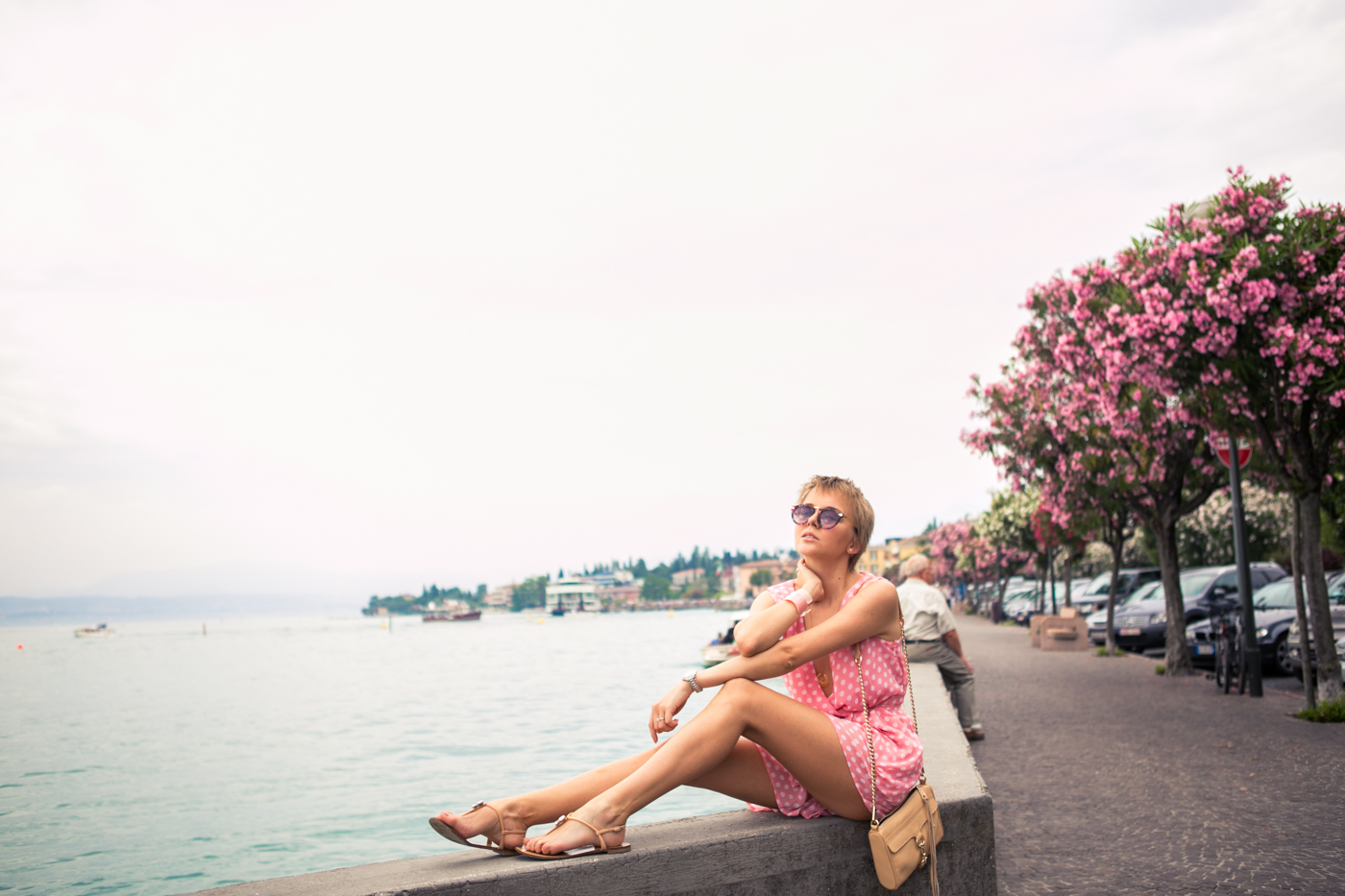 thecablook darya kamalova fashion blog street style sirmione italy verona jumpsuit rompers polka dots pixie cut short hair zanotti sandals rebecca minkoff bag vj style sunnies sunglasses outfit-14