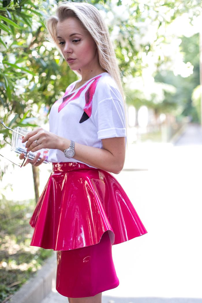 thecablook darya kamalova fashion blog street style trend aqua by aqua peplum skirt fuchsia flomingo top asos nando muzzi heels marc jacobs bracelet zara transparent clutch-27