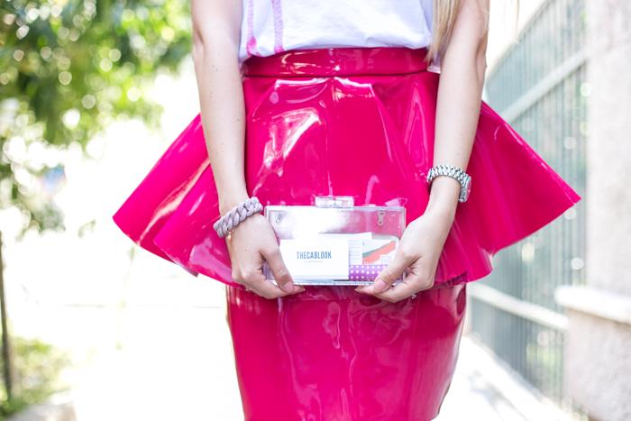 thecablook darya kamalova fashion blog street style trend aqua by aqua peplum skirt fuchsia flomingo top asos nando muzzi heels marc jacobs bracelet zara transparent clutch-44
