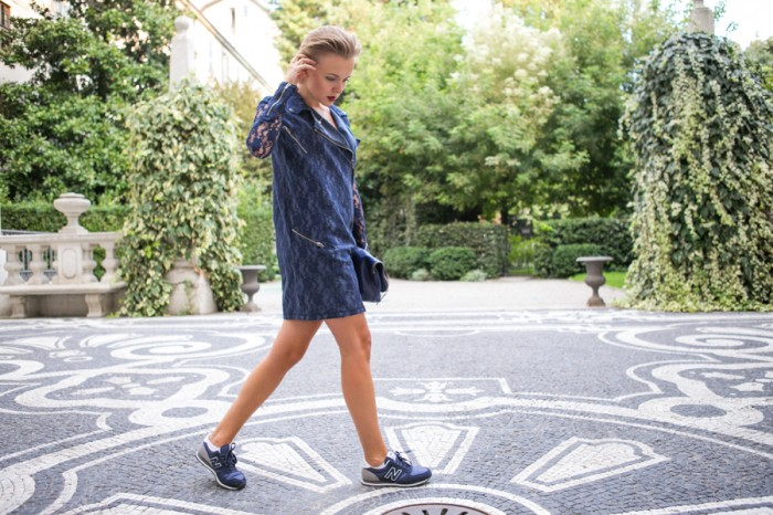 darya kamalova thecablook com asos lace biker dress phillip lim 3 1 navy bag new balance trainers star necklace atos lombardini milan fashion week 2014 ss paula cademartori alberto moretti ballin iceberg show-148