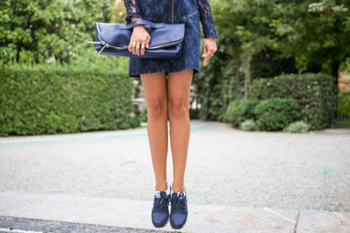 darya kamalova thecablook com asos lace biker dress phillip lim 3 1 navy bag new balance trainers star necklace atos lombardini milan fashion week 2014 ss paula cademartori alberto moretti ballin iceberg show-156