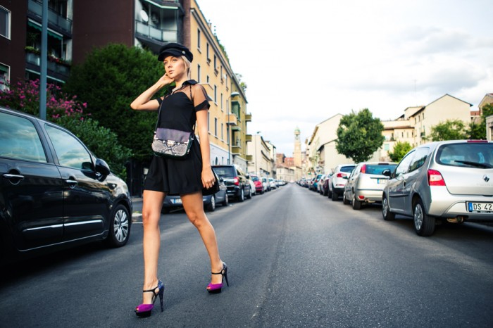 darya kamalova thecablook com fashion blog street style blogger alpinestars event 50 aniversary milan asds denice focil as by df chicwich dress hm hat paris collection rebecca minkoff bag-8 копия