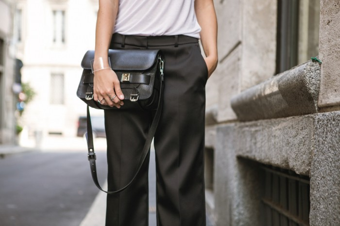 darya kamalova thecablook com mfw milan fashion week street style ss 14 chicca lualdi beequeen roccobarocco sfilata and other stories top leather giant vintage mmm maison martin margiela for hm transparent wedges proenza schouler ps11 bag_-88