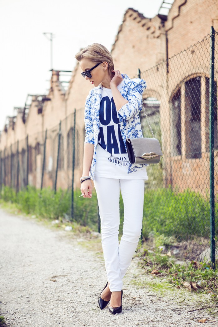 darya kamalova thecablook fashion blog street style outfit ootd frankie morello t shirt sheinside jacket giant vinatage shades white jeans asos guess black heels dvf flirty bag diane von furstenberg-3 копия