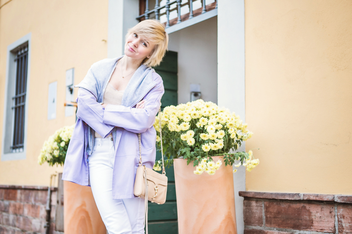 1darya kamalova thecablook fashion blog russian blogger italy moda street style pixie short hair fashion blogger infiniteen double jacket pastel colour outfit asos white denim jeans rebecca minkoff mini mac bag pink shoes flat stefanet beige top-14