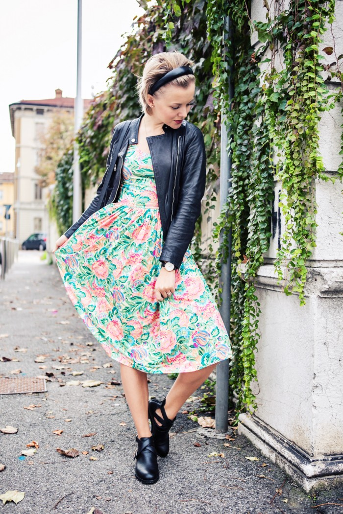darya kamalova thecablook fashion blog street style outfit ootd pixie short hair russian blogger italy asos flower dress bershka cut out boots baldinini leather biker jacket proenza schouler ps11 bag unfinity ring-5 копия