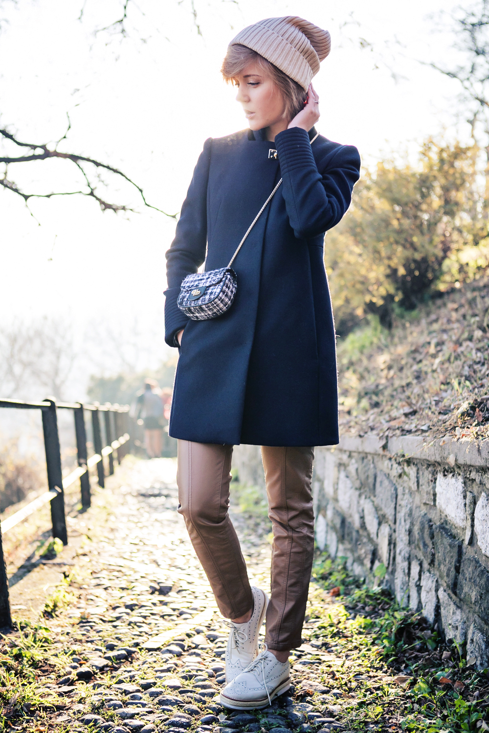 darya kamalova thecablook fashion blog russian blogger italy moda street style pixie short hair fashion blogger fay classiccoat tartan shirt brown leather pants pollini shoes infinity ring boyfriend beanie pinko bag brescia castello-7 copy
