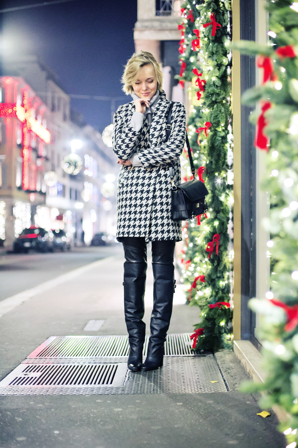 thecablook darya kamalova fashion blog street style outfit short hair blogger sheinside grey sweater hm paris collection over knee boots asbydf leather pants leggings proenza schouler ps11 bag pixie haircut-24 copy