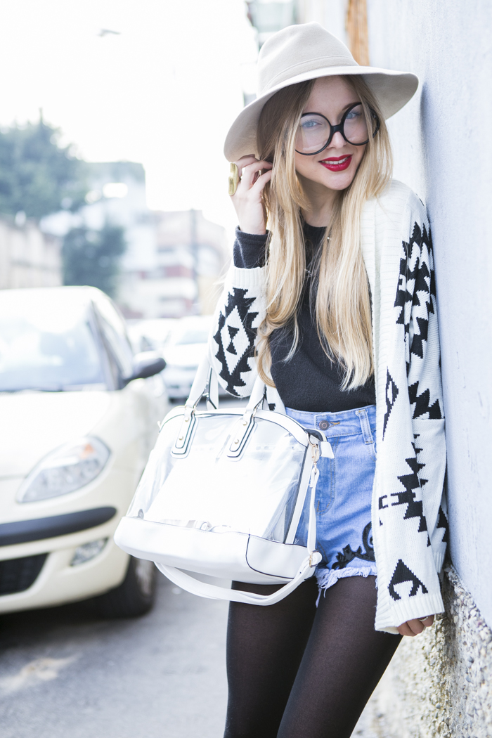 thecablook fashion blog darya kamalova street style new look transparent bag sheinside shorts chicwish cardigan aztec gucci hat giant vintage round glasses baldinini booties black sabo skirt sweater fuori salone 2013 zona lambrate-35