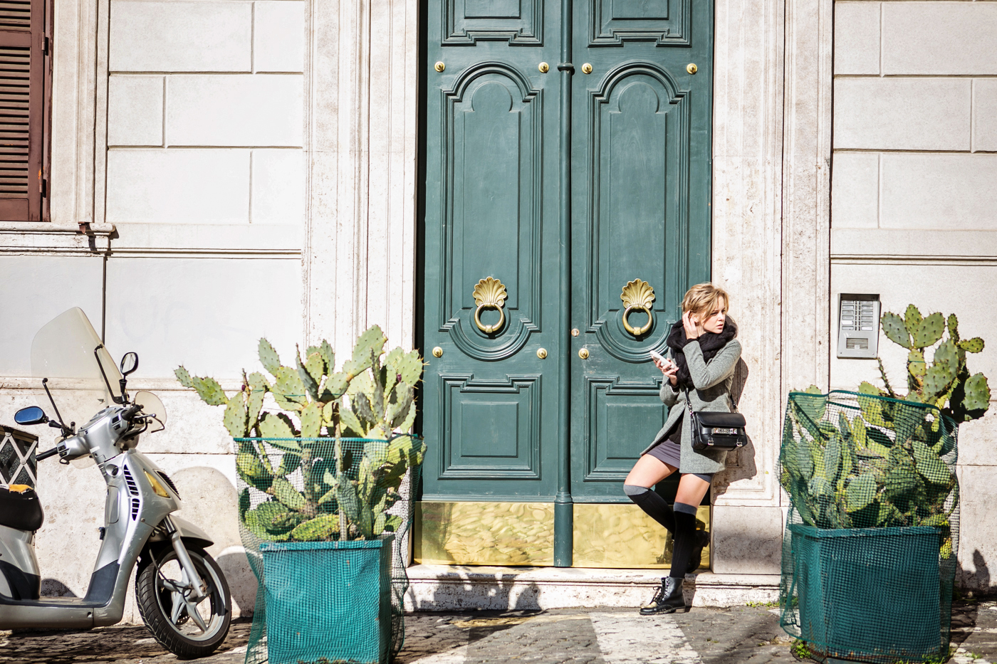 darya kamalova from thecablook com during the trip to Rome walking in the center of the city and wearing chicwish grey coat and laced up booties with proenza schouler ps11 black leather bag-14