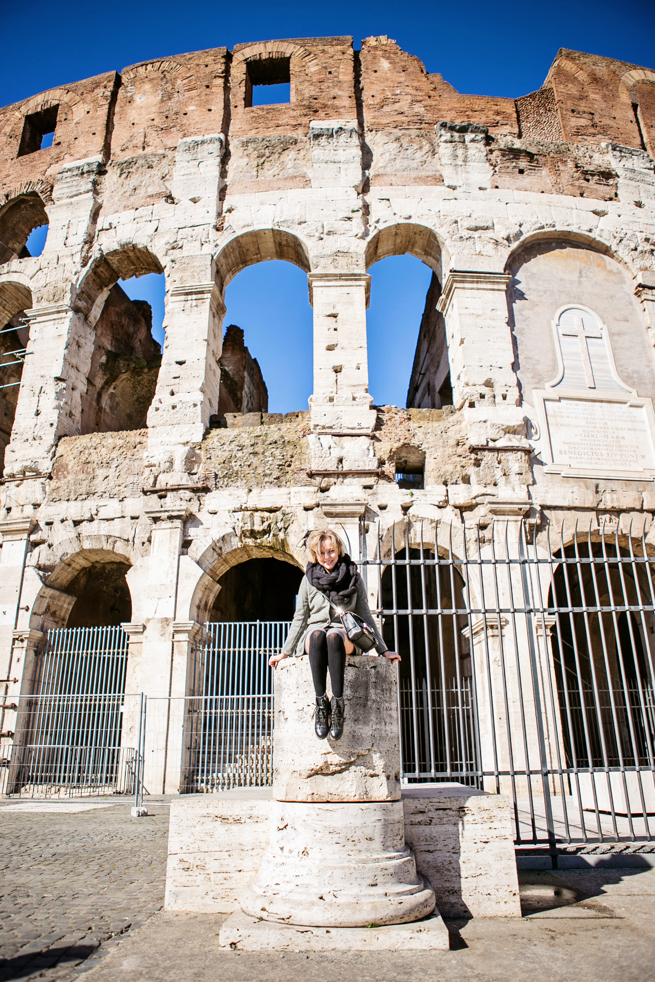 darya kamalova from thecablook com during the trip to Rome walking in the center of the city and wearing chicwish grey coat and laced up booties with proenza schouler ps11 black leather bag-2