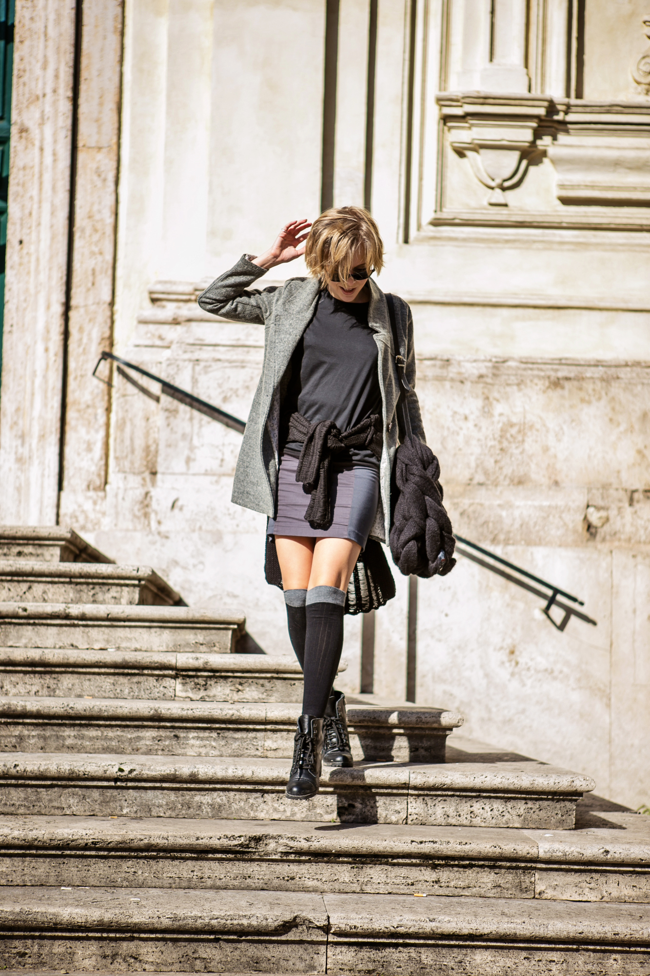 darya kamalova from thecablook com during the trip to Rome walking in the center of the city and wearing chicwish grey coat and laced up booties with proenza schouler ps11 black leather bag-23
