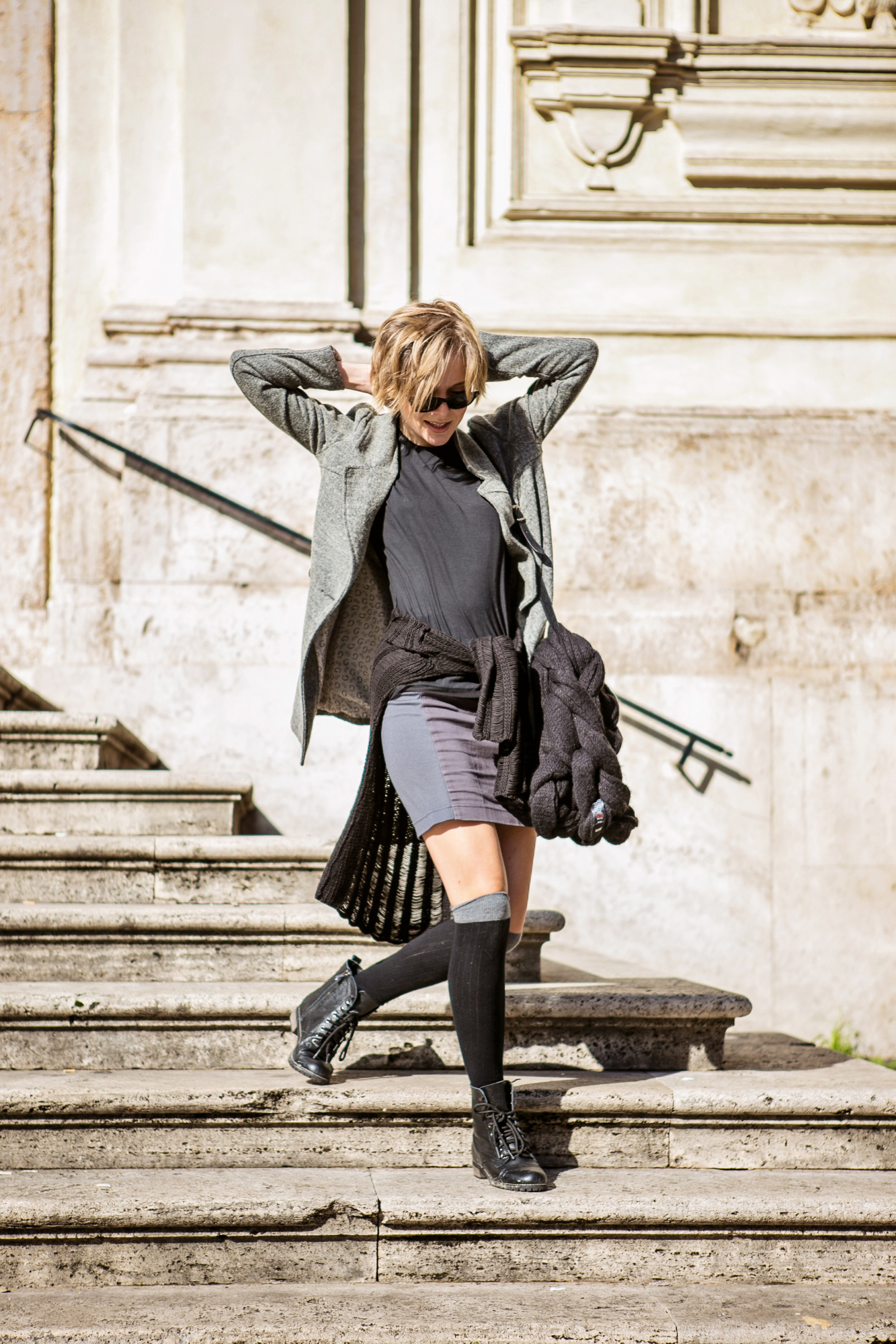darya kamalova from thecablook com during the trip to Rome walking in the center of the city and wearing chicwish grey coat and laced up booties with proenza schouler ps11 black leather bag-24