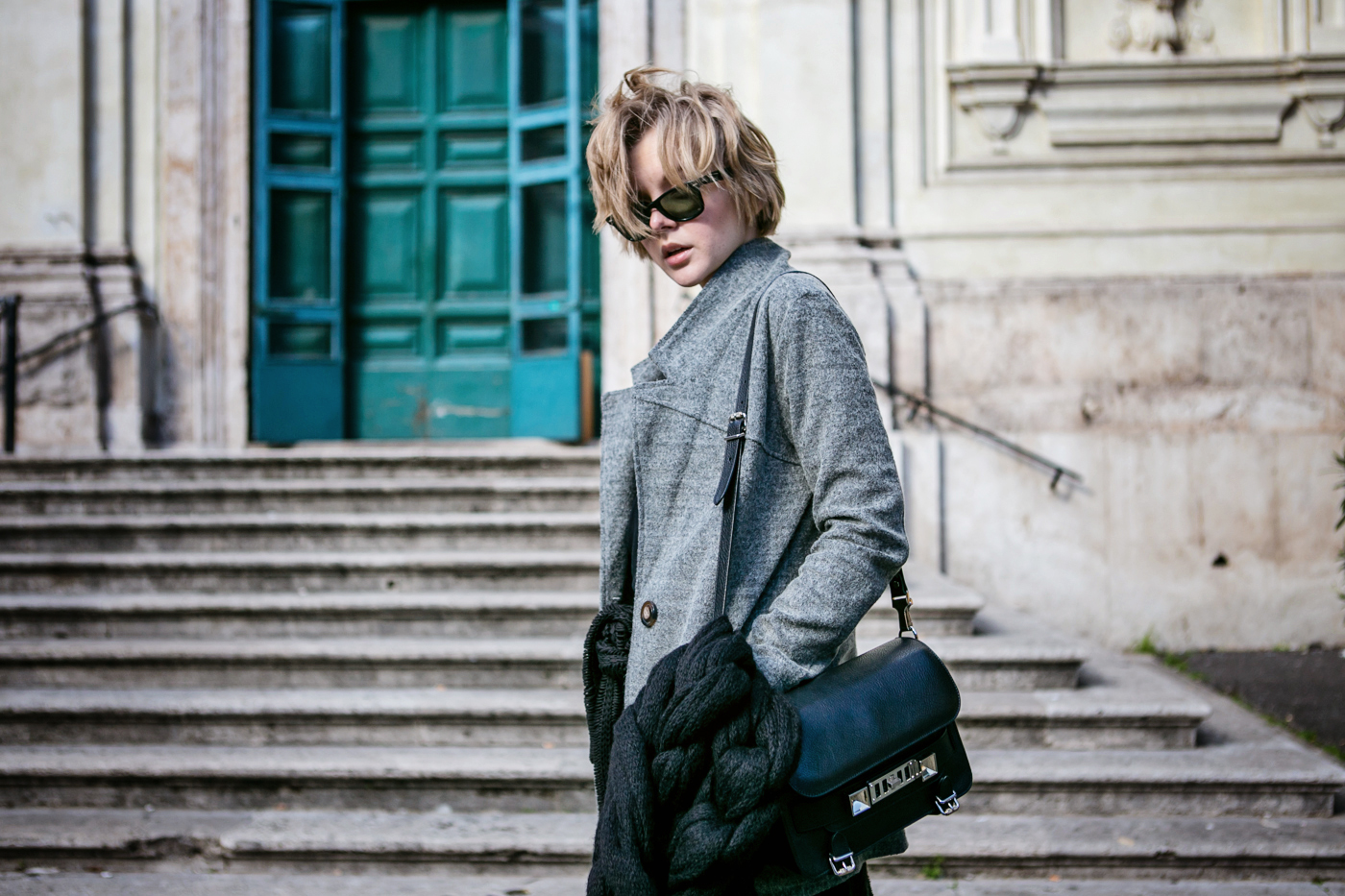 darya kamalova from thecablook com during the trip to Rome walking in the center of the city and wearing chicwish grey coat and laced up booties with proenza schouler ps11 black leather bag-25