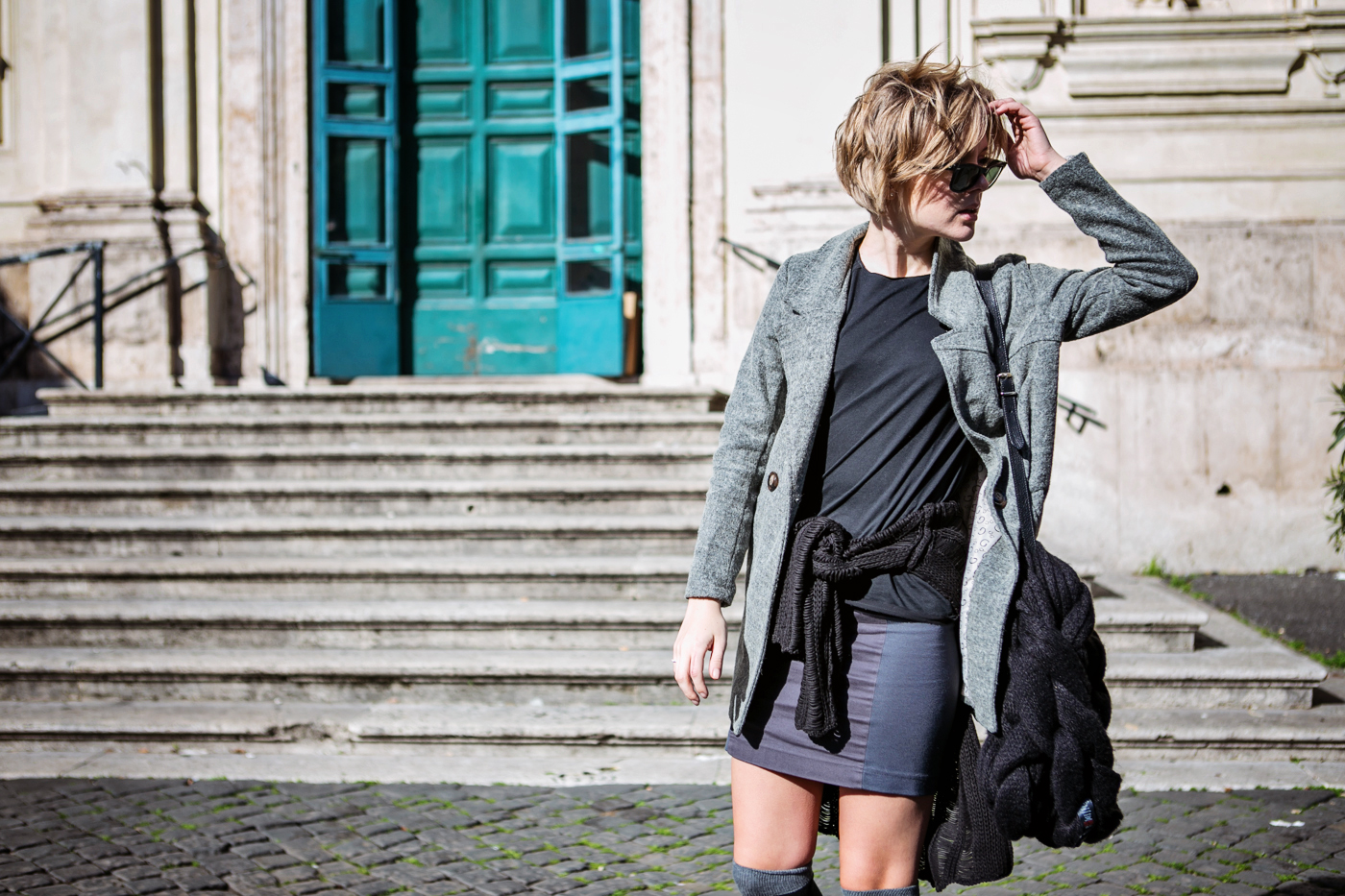 darya kamalova from thecablook com during the trip to Rome walking in the center of the city and wearing chicwish grey coat and laced up booties with proenza schouler ps11 black leather bag-28