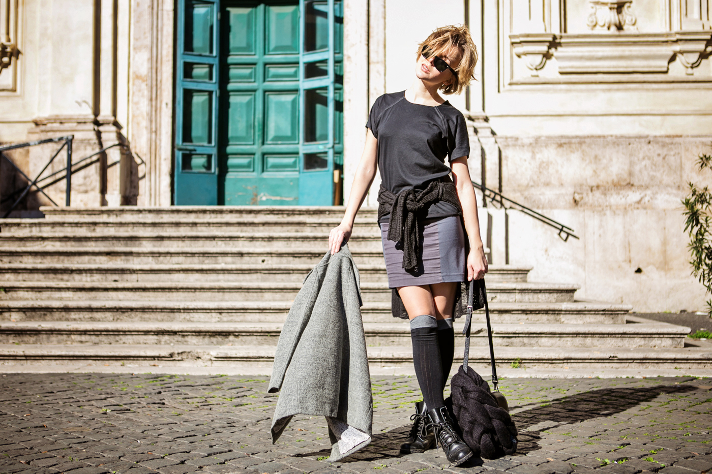darya kamalova from thecablook com during the trip to Rome walking in the center of the city and wearing chicwish grey coat and laced up booties with proenza schouler ps11 black leather bag-29