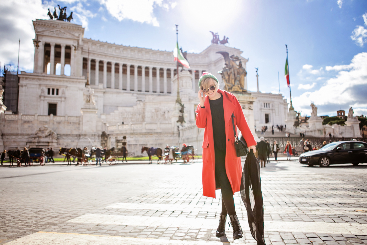 darya kamalova thecablook russian italian fashion bogger street style trend asos long red coat watermelon hat proenza schouler ps11 bag dr denim jeans rome roma centro storico le bunny blue booties italia italy-32