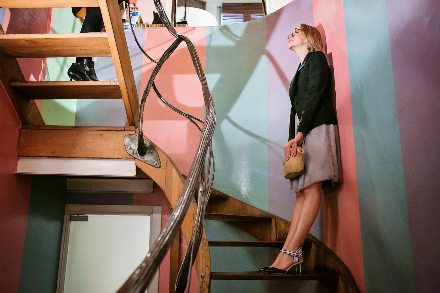 darya kamalova from thecablook com on lardini presentation in Milan and in attila showroom wearing lardini perfect black jacket with marni retro clutch and sophia webster kitten heels-72